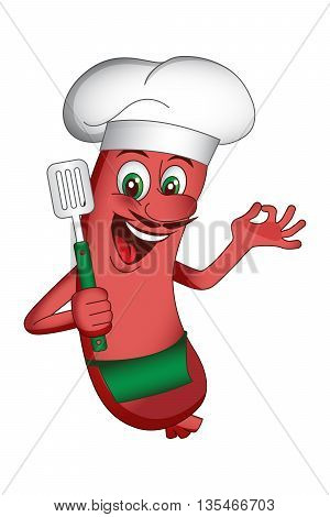 Vector Illustration of chef sausage character with a spatula