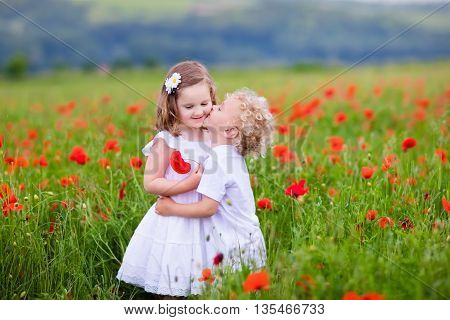 Little curly blond boy and girl play in poppy flower field. Child picking red poppies. Toddler kid in summer meadow. Family vacation in the country. Children pick flowers hug and kiss. Siblings love.