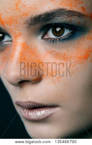 Girl With Orange Eye Drops. Beauty Fashion