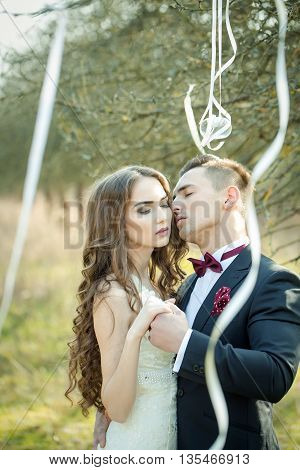 Wedding Couple And Ribbons On Tree