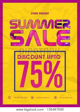 Stylish Summer Sale Flyer, Discount Up to 75% Off, Vector Sale Illustration.