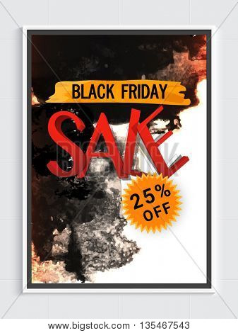 Black Friday Sale Poster, 25% Off, Abstract Sale Background, Vector illustration.