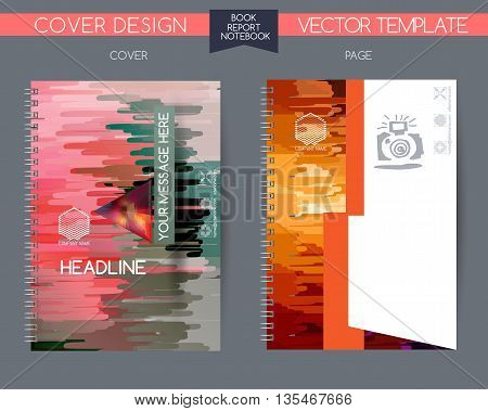 Cover and page of the annual report. Book cover design isolated over colorful background. covers for books, notebooks, annual report. Logo and characters with space for text. Template cover