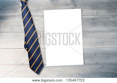 blue tie with diagonal line against white card