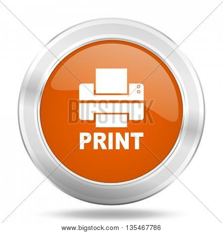 Metallic round orange glossy web print vector icon.