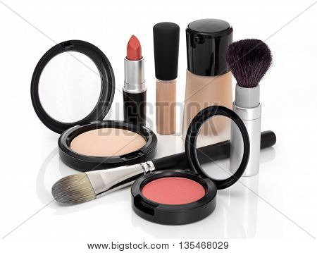 Makeup for fresh natural look. Foundation concealer face powder blush lipstick brushes.