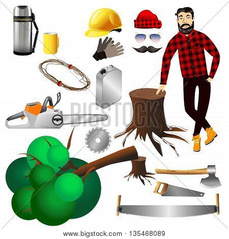 Equipment lumberjack hipster.Vector elements icons vector illustration on a white background. Lumber