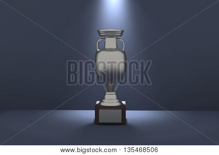 3D rendering of silver trophy on blue background