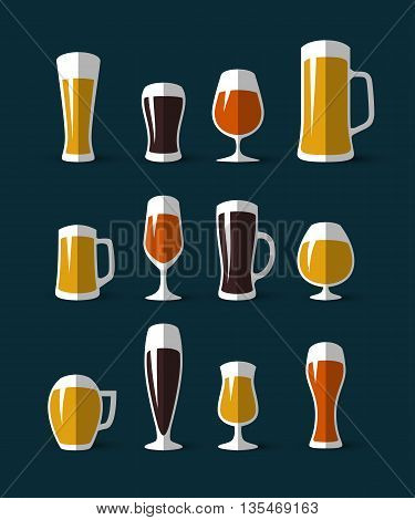 Set of beer glasses and beer mugs icons. Beer glass icon. Flat style vector illustration. Vector design elements for printing and web