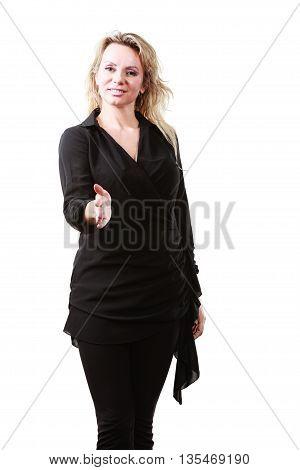 Elegant Woman Reaching Hand.