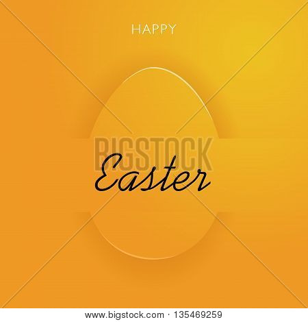 Happy Easter yellow egg. Vector holiday background