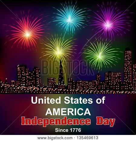 Card For America's Independence Day With Fireworks