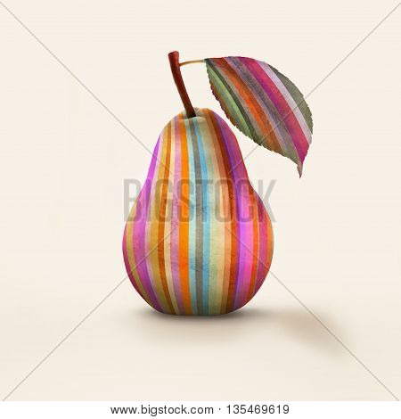 A pear colored in vertical stripes isolated