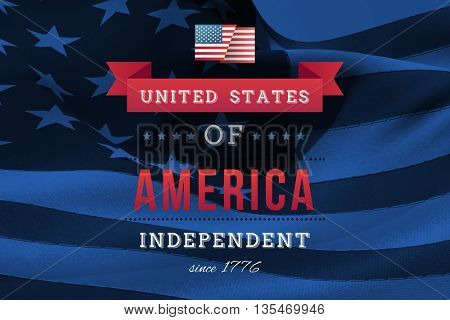 Independence day graphic against digitally generated american flag rippling