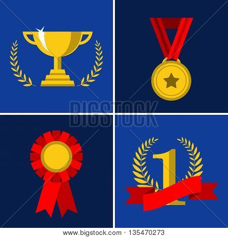 Vector set of trophy and awards icons. Flat style design