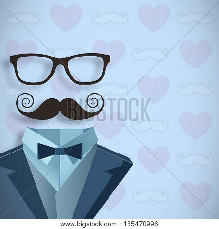 Digitally generated icon of a buste against digitally generated mustache and heart