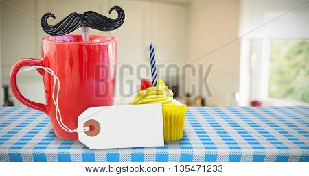 White tag isolated against delicious cupcake on a table
