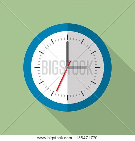 Circle office analog wall clock. Wall clock icon. Flat style vector illustration