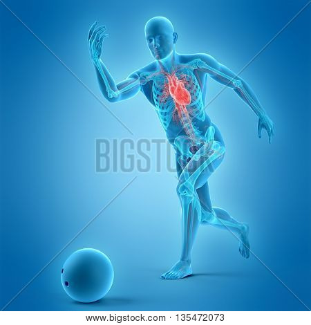 3d rendered, medically accurate 3d illustration of bowling player
