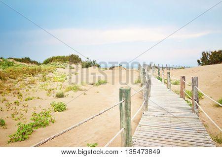 Sand dunes at the beach of Tarragona in Catalonia Spain.