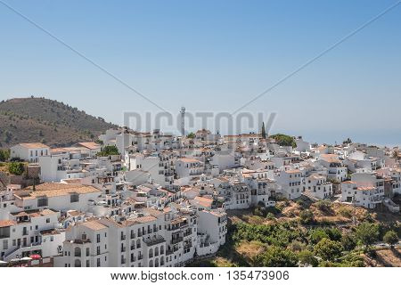 View over the town of Frigiliana. Andalusia Spain.