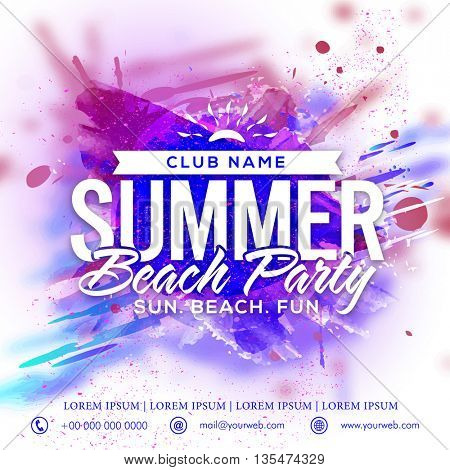 Summer Beach Party Template, Beach Party Banner, Musical Party Flyer or Invitation Card design with creative abstract pattern.