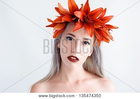 Beautiful Young Girl In A Black Lenses With Lilies
