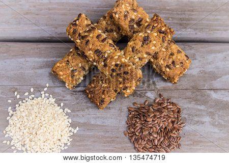 Sesame, flexs  and organic whole wheat bars