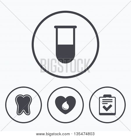 Medical icons. Tooth, test tube, blood donation and checklist signs. Laboratory equipment symbol. Dental care. Icons in circles.