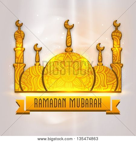 Glossy Golden Mosque with beautiful floral decoration and ribbon on shiny background for Islamic Holy Month of Prayer and Fasting Ramadan Mubarak celebration.