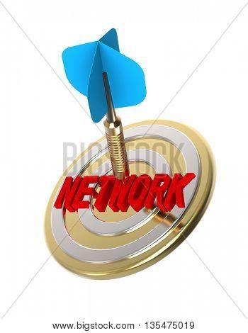 Dart hitting target. Network concept. 3D illustration.