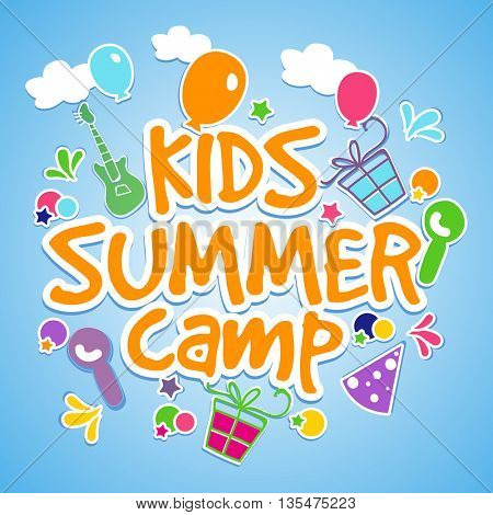 Kids Summer Camp Poster, Banner or Flyer design with colorful elements on shiny sky blue background.