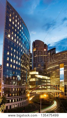 Puteaux city France-June 22 2016 : The business district La Defense is Europe largest purpose built business district with 72 steel and glass buildings of which 18 are completed skyscrapers.