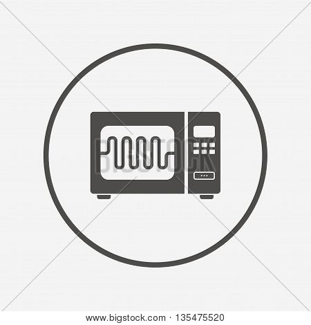 Microwave oven sign icon. Kitchen electric stove Flat microwave icon. Simple design microwave symbol. Microwave graphic element. Round button with flat microwave icon. Vector