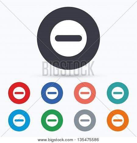 Minus sign icon. Negative symbol. Flat minus icon. Simple design minus symbol. Minus graphic element. Circle buttons with minus icon. Vector