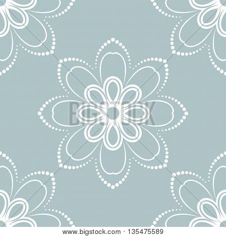 Floral light blue and white ornament. Seamless abstract classic pattern with flowers