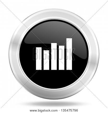 graph black icon, metallic design internet button, web and mobile app illustration