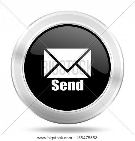 send black icon, metallic design internet button, web and mobile app illustration