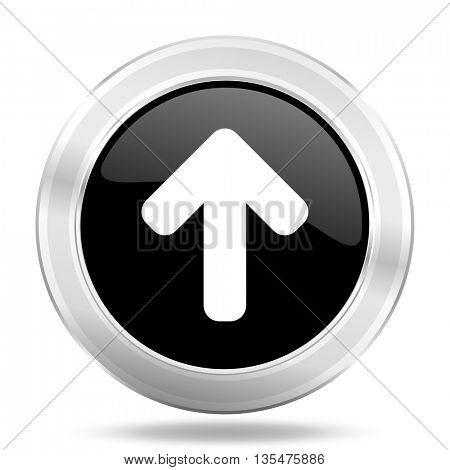 up arrow black icon, metallic design internet button, web and mobile app illustration