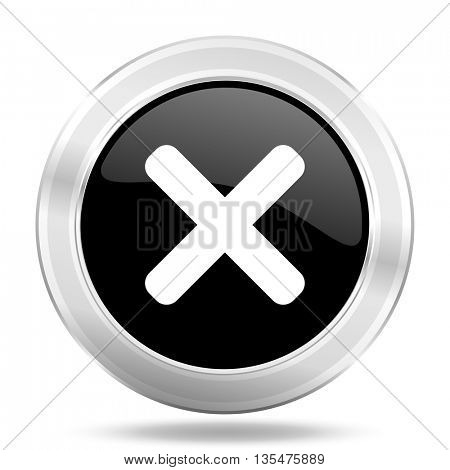 cancel black icon, metallic design internet button, web and mobile app illustration