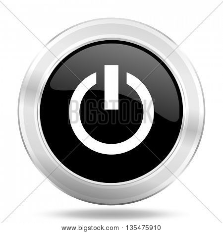 power black icon, metallic design internet button, web and mobile app illustration