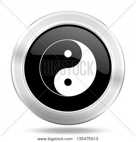 ying yang black icon, metallic design internet button, web and mobile app illustration