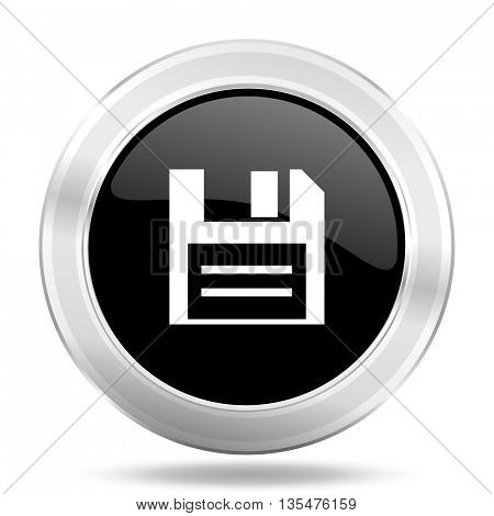 disk black icon, metallic design internet button, web and mobile app illustration