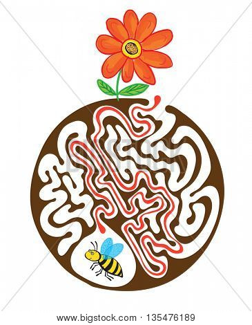 Maze puzzle for kids with bee and flower. Labyrinth illustration, solution included.