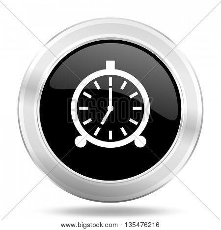 alarm black icon, metallic design internet button, web and mobile app illustration