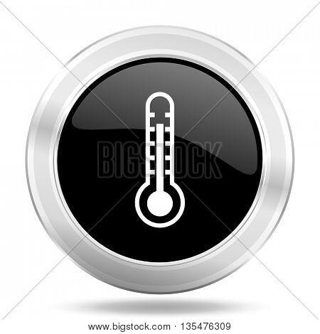 thermometer black icon, metallic design internet button, web and mobile app illustration