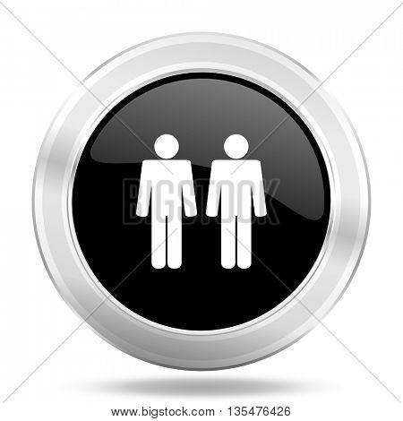 couple black icon, metallic design internet button, web and mobile app illustration