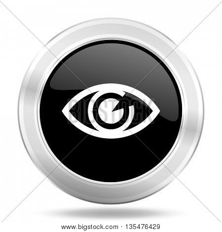 eye black icon, metallic design internet button, web and mobile app illustration