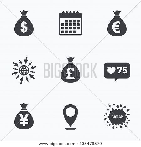 Calendar, like counter and go to web icons. Money bag icons. Dollar, Euro, Pound and Yen symbols. USD, EUR, GBP and JPY currency signs. Location pointer.