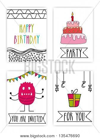 Set of creative hand drawn Party Cards, Four Party Doodle Pattern, Stylish different Party Background with colorful text, sweet cake, scary monster and wrapped gift.